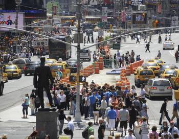 Вид на Таймс-сквер, самое популярное место на Манхеттене. Фото: МEMMANUEL DUNAND/AFP/Getty Images