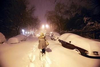 Снег на улицах Нью-Йорка. Фото: Getty Images /Fotobank