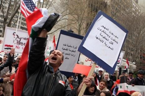 Акция протеста в поддержку оппозиции в Сирии. Фото: Daniel Barry/Getty Images
