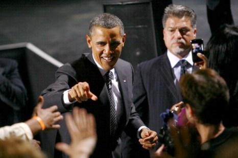 Обама на предвыборной кампании в в штаб-квартире  Sony Pictures Studios. Фото: Eric Thayer/Getty Images