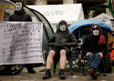 Акция протеста антиглобалистов движения Occupy LSX 22 февраля 2012 года в Лондоне. Фото: Matthew Lloyd/Getty Images