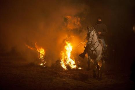 Фоторепортаж с фестиваля огня в испанском Сан-Бартоломе-де-Пинаре, 16 января 2013 года. Фото: Pablo Blazquez Dominguez/Getty Images