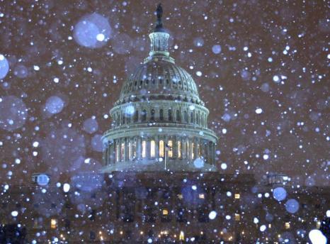Снег падает перед зданием Конгресса США 13 февраля 2014 года в Вашингтоне. Фото: Mark Wilson/Getty Images
