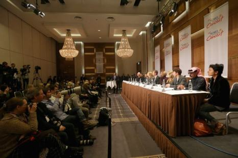 Пресс-конференция, посвящённая лауреатам 20-й ежегодной Нобелевской премии мира с участием мировых звёзд, прошла 11 декабря 2013 года в Осло (Норвегия). Фото: Chris Jackson/Getty Images for Nobel Peace Prize Concert