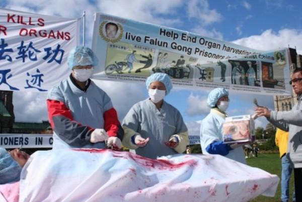 Инсценировка насильственного извлечения органов. Фото: Epoch Times Via BeforeItsNews.com
