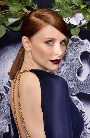 """HOLLYWOOD, CA - JUNE 09:  Actress Bryce Dallas Howard attends the Universal Pictures' """"Jurassic World"""" premiere at Dolby Theatre on June 9, 2015 in Hollywood, California.  (Photo by Frazer Harrison/Getty Images)"""