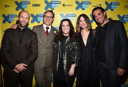"""AUSTIN, TX - MARCH 15: (L-R) Actor Jason Statham, director Paul Feig, actress Melissa McCarthy, actress Rose Byrne and actor Bobby Cannavale arrive at the premiere of """"Spy"""" during the 2015 SXSW Music, Film + Interactive Festival at the Paramount on March 15, 2015 in Austin, Texas. (Photo by Michael Buckner/Getty Images for SXSW)"""
