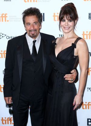 """TORONTO, ON - SEPTEMBER 06:  Actors Al Pacino and Lucila Sola attend the """"Manglehorn"""" Premiere during the 2014 Toronto International Film Festival at Winter Garden Theatre on September 6, 2014 in Toronto, Canada.  (Photo by Leonard Adam/Getty Images)"""