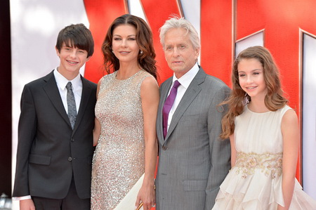 """LONDON, ENGLAND - JULY 08:  Catherine Zeta Jones and actor Michael Douglas with their children Dylan and Carys as they attend the European Premiere of Marvel's """"Ant-Man"""" at the Odeon Leicester Square on July 8, 2015 in London, England.  (Photo by Anthony Harvey/Getty Images)"""