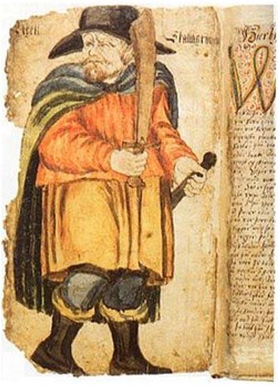 Эгиль Скаллагримссо, иллюстрация из рукописи XVII века «Сага об Эгиле».