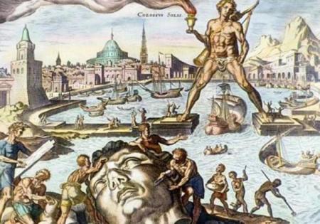 Колосс Родосский, изображённый на этой ручной цветной гравюре