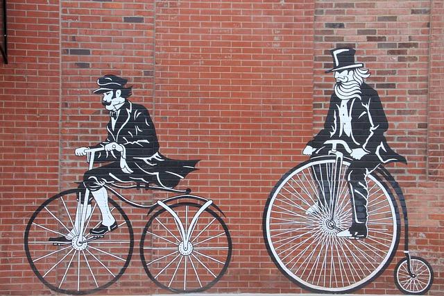 велосипед, стена, кирпич