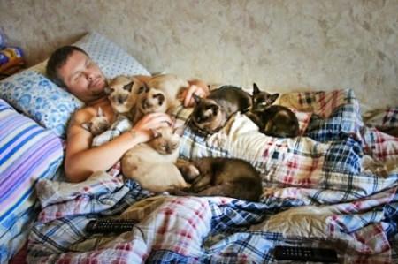 Сергей Гаранин дома, окруженный бурманскими кошками. Фото предоставлено Сергеем Гараниным