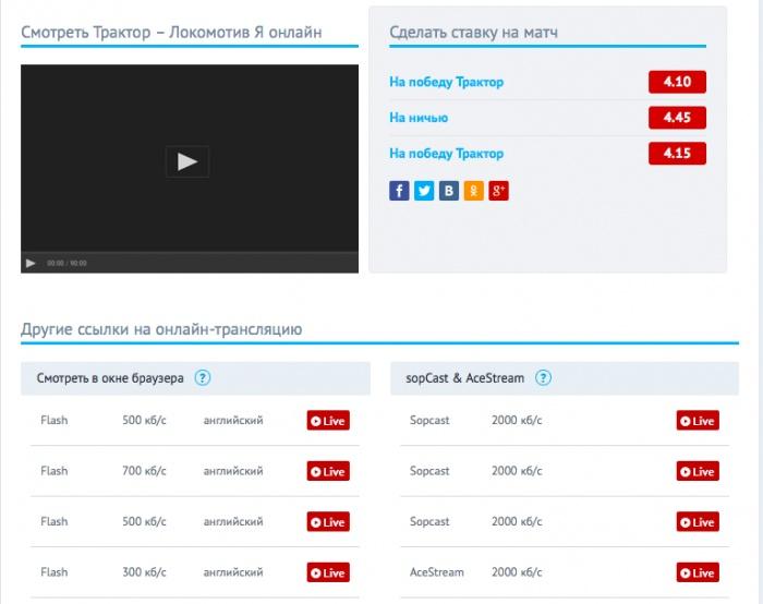 Скриншот с сайта checklive.ru. Просмотр футбол онлайн