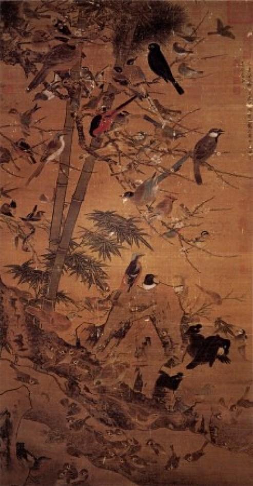 «Три зимних друга и 100 птиц», художник Бянь Вэньцзинь, также известный как Бянь Цзинчжао, династия Мин. Фото: Wikimedia Commons