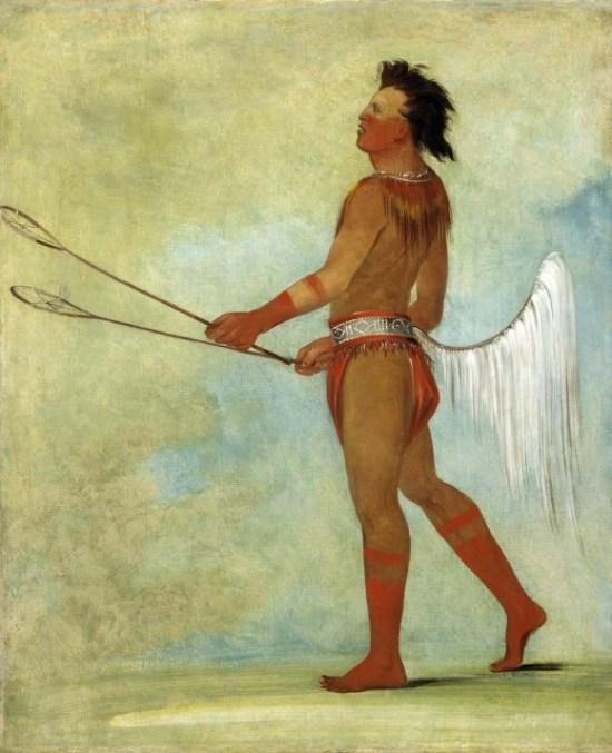 Индеец чокто играет в стикболл, рисунок Джорджа Катлина, 1834 г. Фото: Public Domain
