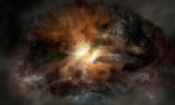 Сверхмассивная чёрная дыра уничтожает самую яркую галактику, известную учёным. Её огромная мощь разваливает галактику на части.