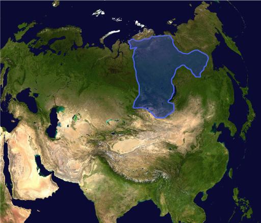 Текущее положение сибирского кратона на материке. Фото: NASA