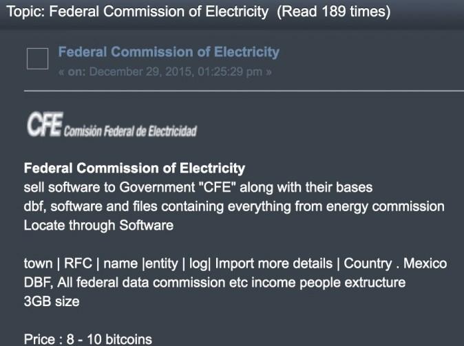 Пост на форуме киберпреступников в даркнете продаёт доступ в мексиканскую Федеральную комиссию по электроэнергии. Скриншот предоставлен «Великой Эпохе» инсайдером