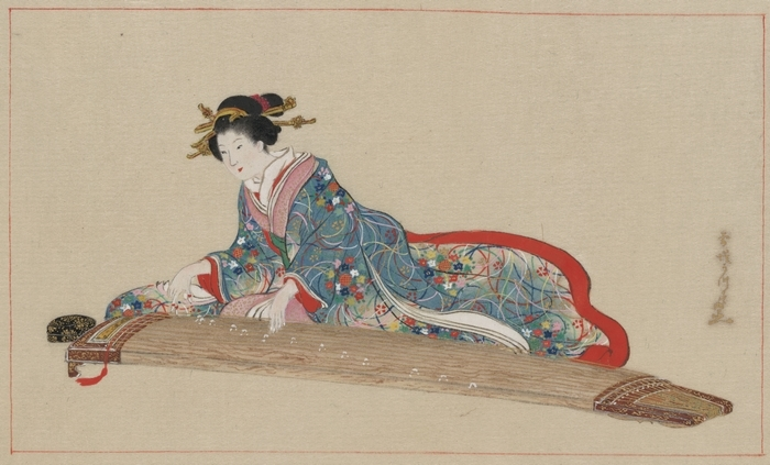 Японка играет на кото, рисунок Хасегавы Сеттея, 1878 г. Фото: Library of Congress/Public Domain