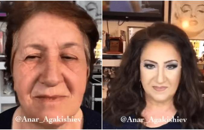 пожилая женщина, макияж
