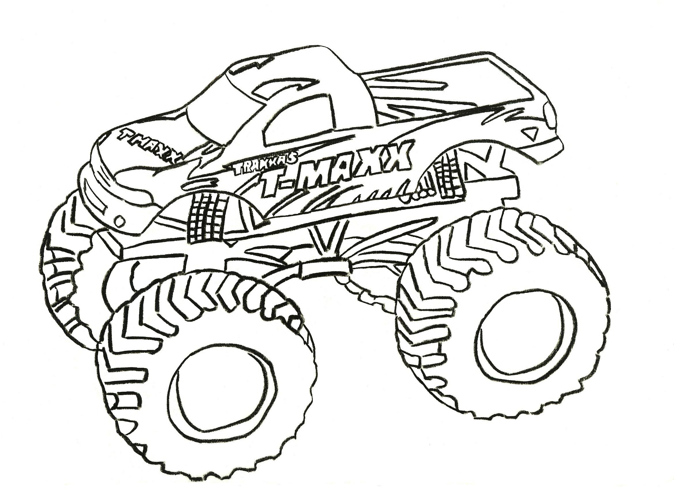 Monster Truck Coloring Pages Letscoloringpages T Maxx Free