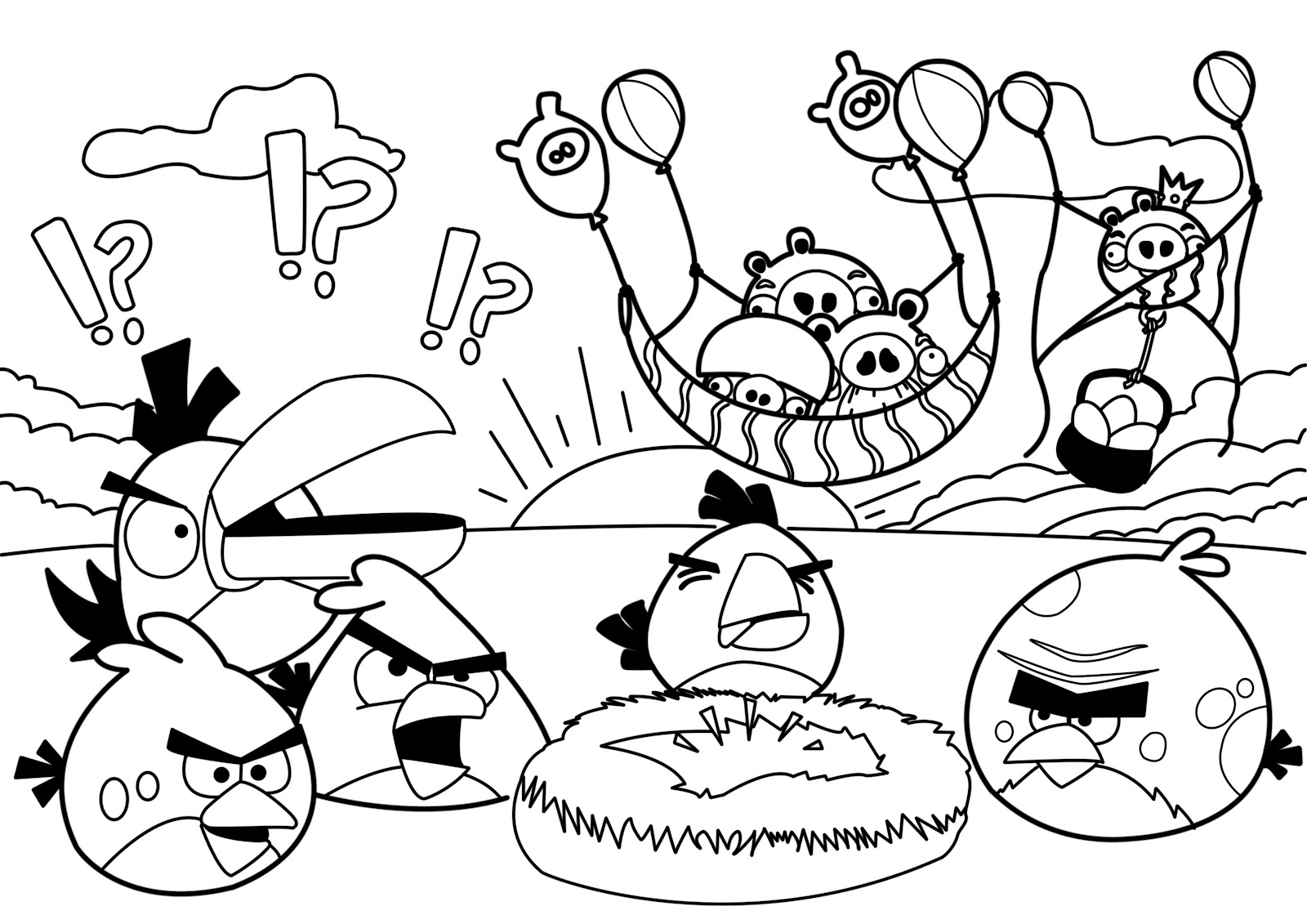 Party Angry Birds Coloring Pages Free Printable Coloring Pages For