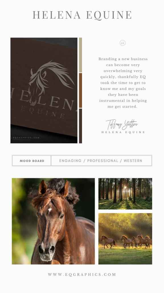 Hand Drawn Cow Horse Logo Makes Beautiful Business Cards for Equine Massage Therapist