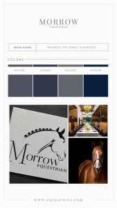 Chic Color Palette Paired With Wedding Venue's Timeless Hunter/Jumper Logo Design