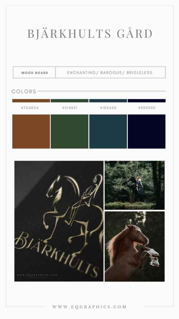 Soothing Forest Inspired Palette for Classical Dressage Trainer's Unique Logo Design