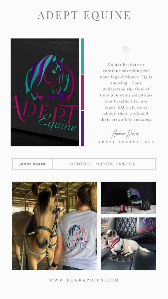 Whimsical Horse Logo for Equine Massage Therapist Contains Abundant Color