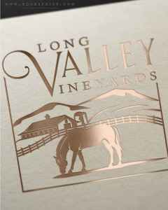 Drawing of mountains and horse grazing for a winery logo in New Jersey by EQ Graphics
