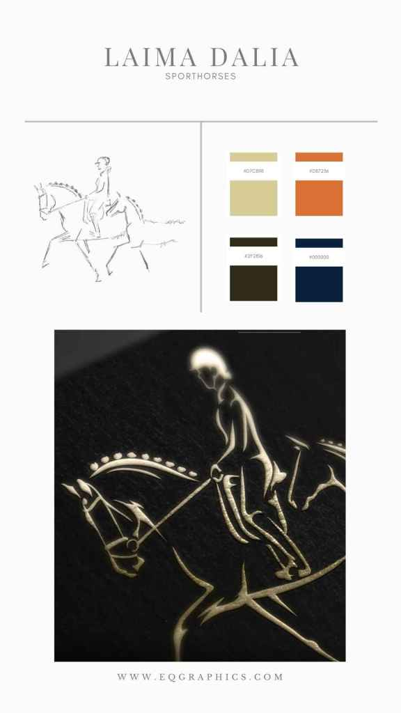 Details Matter in This Realistic Line Art Logo for a Dressage Horse Breeder