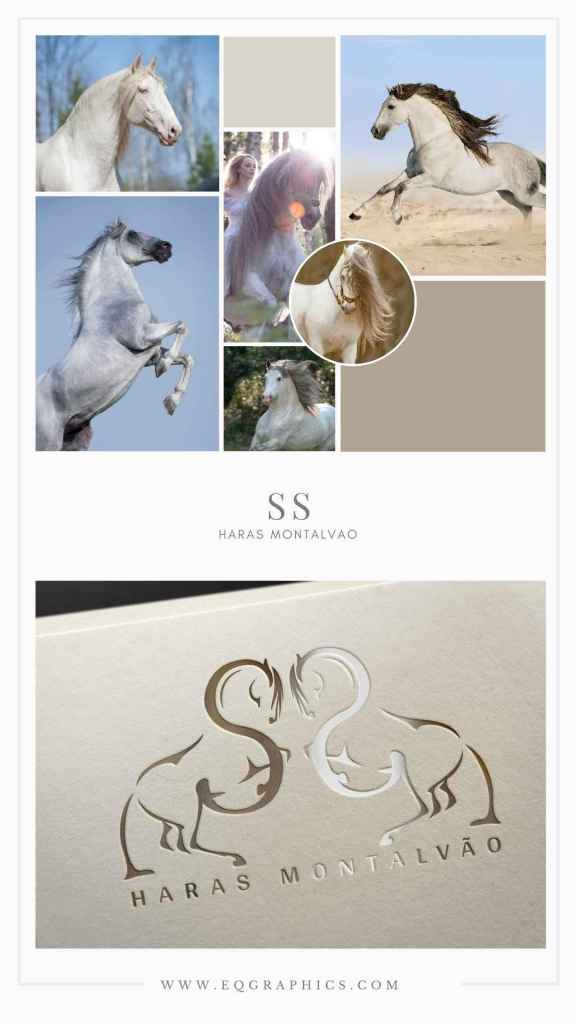 Powerful Andalusian Mood Board Inspiration for Dressage Horse Logo with SS Monogram