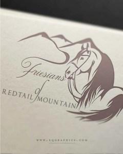 Elegant Equine Facility Logo Features Stunning Friesian Dressage Horse & Hawk