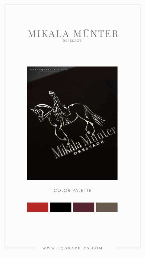 Luxury Branding Colors Harnessed With Sophisticated Piaffe Logo for Dressage Rider