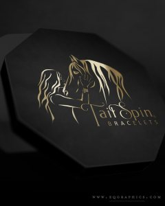 Hand Drawn Horse & Girl Silhouette Logo for Luxe Horse Hair Jewelry Packaging