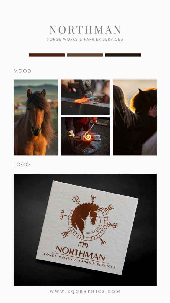 Farrier's Heritage Brought to Life With Hand Drawn Norse Mythology Logo Design