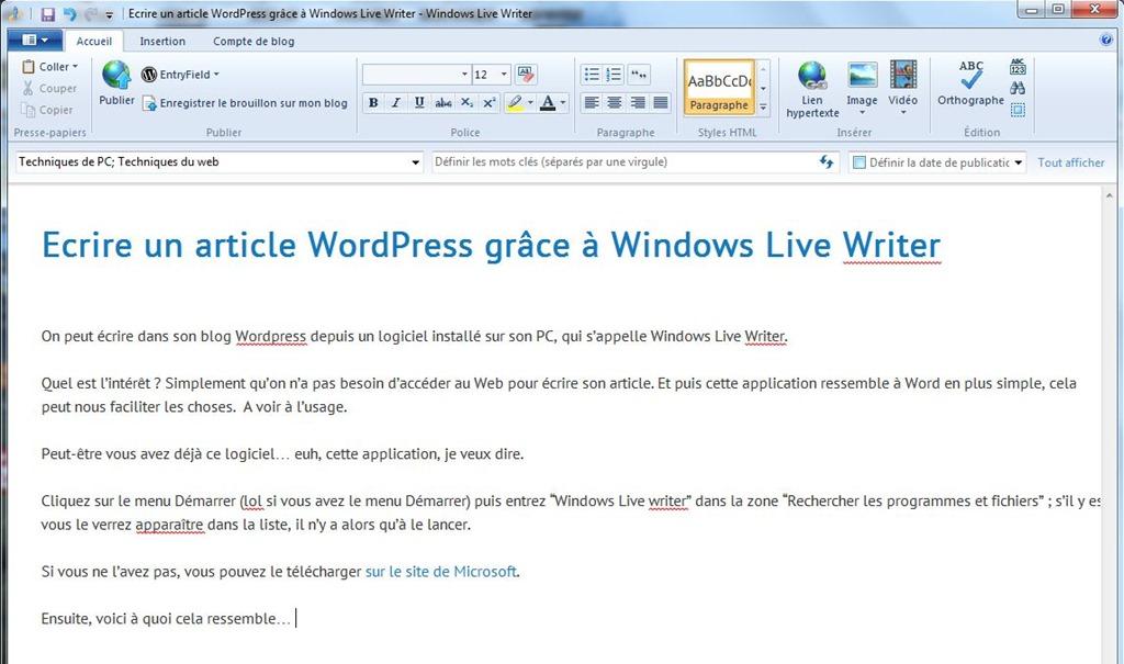 Extrêmement Utiliser Windows Live Writer pour écrire un article WordPress  OK48