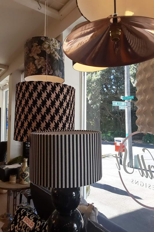 Wall St Designs interior inspiration samples lightshades in the front window