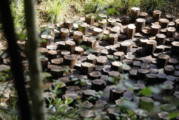 Garden design in the Loire. Wooden hexagonals form a sculptural component