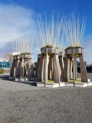Arising from the rubble, a photo of a public sculpture in Christchurch commemorating the Christchurch Earthquake big columns supporting garden platforms - acknowledging what has been and looking at new ways forward