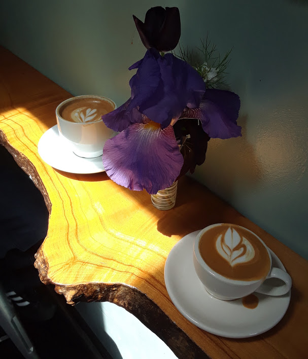 Lattes, Cappuccinos, and Macchiatos made with organic Cashew milk at the Equiano Coffee tasting room in Eugene, Oregon.