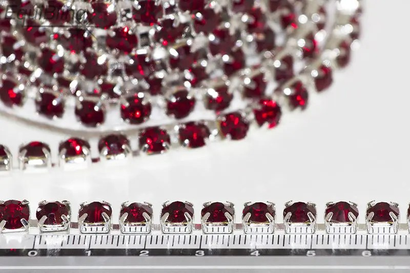 6mm strassketting rood