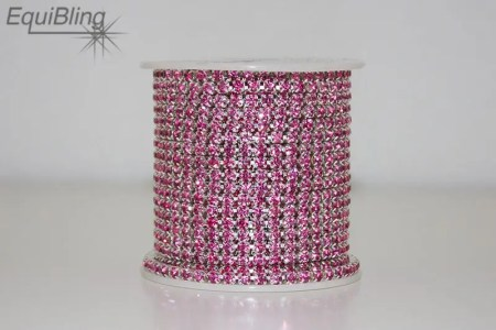 3mm strassketting roze