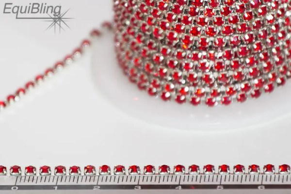 3mm strassketting rood