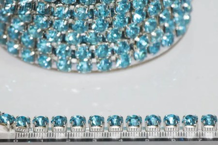 6mm strassketting turquoise