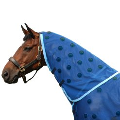 Magnetic neck piece with navy spots and cyan trim by Equine Magnetix