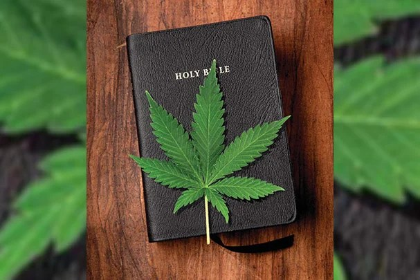 The Bible and a Marijuana Leaf