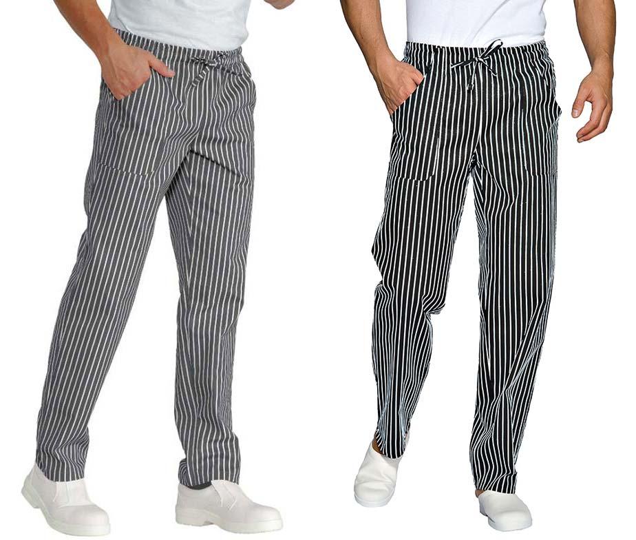 Pantal n cocina en rayas negras y blancas pantal n cocina isacco - Pantalones de cocina ...